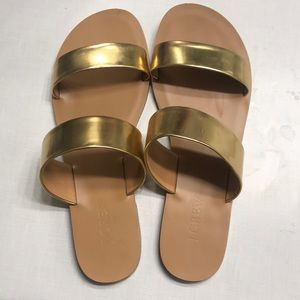 J. crew Gold Slip on Sandals